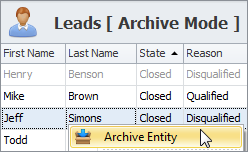 sales crm archive leads