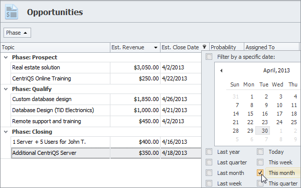 sales crm sort group filter opportunities