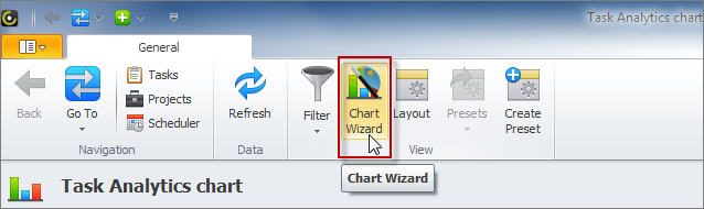 task analytics chart wizard option