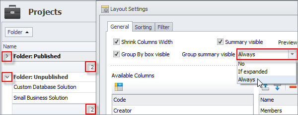 Group summary is always visible (groups are expanded or not)